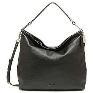 COACH Madison Leather Hobo Silver Black 27858